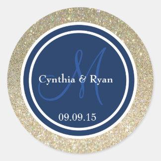 Gold Glitter & Dark Navy Blue Wedding Monogram Round Sticker