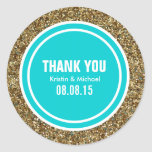 Gold Glitter Deep Turquoise Custom Thank You Label Classic Round Sticker