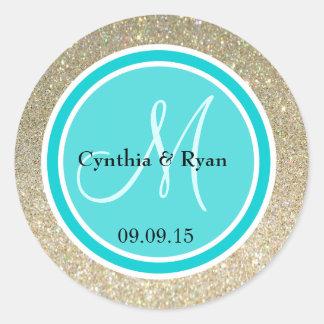 Gold Glitter & Deep Turquoise Wedding Monogram Classic Round Sticker