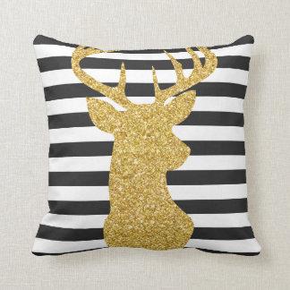 Gold Glitter Deer Black and White Stripes Throw Pillow