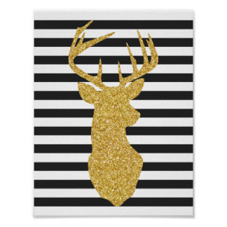 Gold Glitter Deer Black & White Stripes Poster