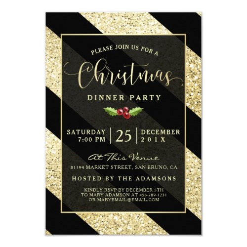 Gold Glitter Diagonal Stripes Christmas Party Invitation
