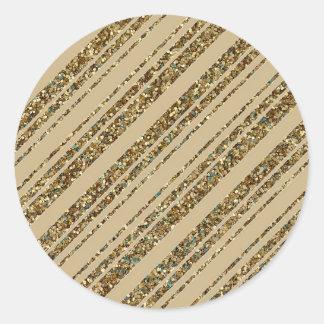 Gold Glitter Diagonal Stripes on Christmas Gold Round Sticker