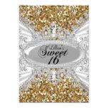 Gold Glitter & Diamond Tiara Sweet 16 Invite
