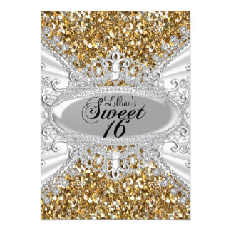 Gold Glitter & Diamond Tiara Sweet 16 Invite