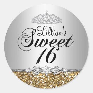 Gold Glitter & Diamond Tiara Sweet 16 Sticker