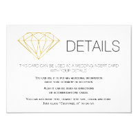 Gold glitter diamond trendy wedding details insert card