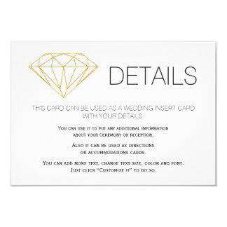Gold glitter diamond trendy wedding details insert card