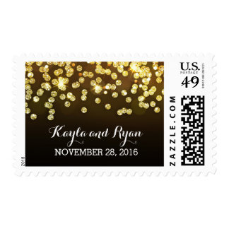 gold glitter diamonds black wedding postage