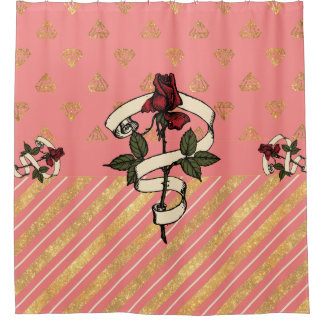 Gold Glitter Diamonds Pink Stripes Red Roses Shower Curtain