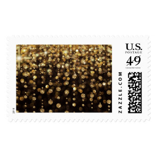 Gold Glitter Diamonds Postage Stamps