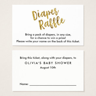 Gold Glitter Diaper Raffle Ticket
