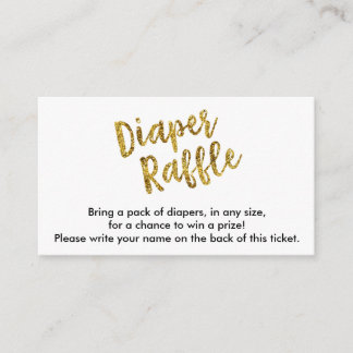 Gold Glitter Diaper Raffle Ticket Enclosure Card