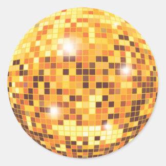 Gold Glitter Disco Ball Round Sticker