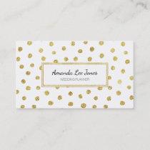Gold glitter dots business card