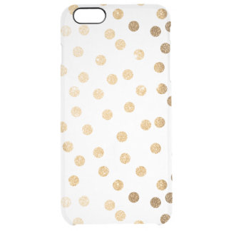 Gold Glitter Dots Clear Phone Case
