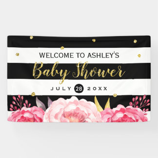 Gold Glitter Dots Floral Stripes Baby Shower Party Banner