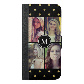 Gold Glitter Dots Girly Photo Collage Monogram iPhone 6/6s Plus Wallet Case