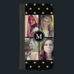 "Gold Glitter Dots Girly Photo Collage Monogram iPhone 8/7 Plus Wallet Case<br><div class=""desc"">Protect your iPhone to be as classy with this &quot;Gold Glitter Dots Girly Photo Collage Monogram&quot; Unique Wallet Cover and make it more than just protective casing. This case is a perfect way to show off your favorite photos. If you need further customization, please click the &quot;Customize it&quot; button and...</div>"