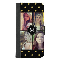 Gold Glitter Dots Girly Photo Collage Monogram iPhone 8/7 Plus Wallet Case