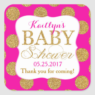 Gold Glitter Dots Hot Pink Baby Shower Label