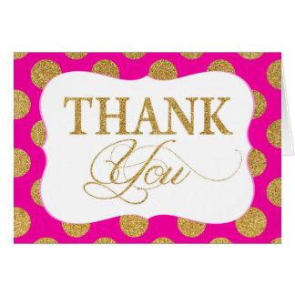 Gold Glitter Dots Hot Pink Modern Thank You Card