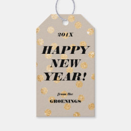 Gold Glitter Dots Modern Customized Happy New Year Gift Tags