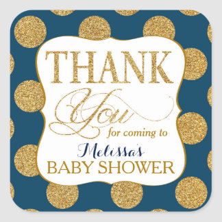 Gold Glitter Dots Navy Blue Thank You Label