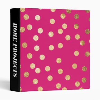 Gold Glitter Dots on Magenta Binder