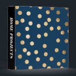 """Gold Glitter Dots on Navy Blue Binder<br><div class=""""desc"""">Chic,  modern and on-trend,  glittered dotty binder keeps you organized and is totally customizable. Don&#39;t forget to personalize the spine text.</div>"""