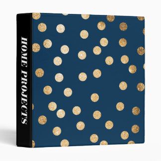 Gold Glitter Dots on Navy Blue Binder