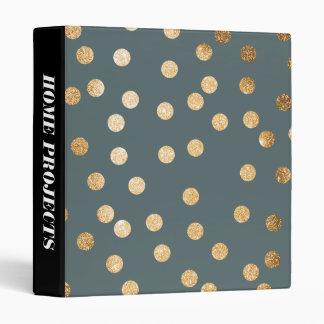 Gold Glitter Dots on Slate Binder
