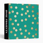 Gold Glitter Dots on Teal Green Binder