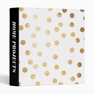 Gold Glitter Dots on White Binder