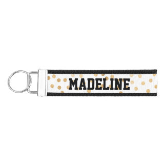 Gold Glitter Dots on White with Custom Text Wrist Keychain