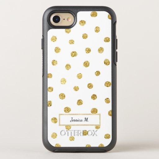 Gold glitter dots OtterBox symmetry iPhone 7 case : Zazzle