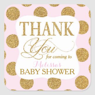 Gold Glitter Dots Pink Thank You Label