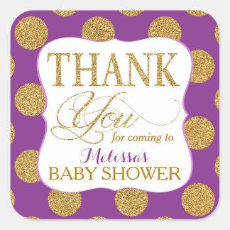 Gold Glitter Dots Purple Thank You Label