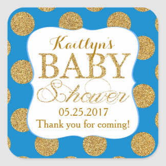 Gold Glitter Dots Royal Blue Baby Shower Label