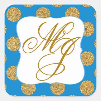 Gold Glitter Dots Royal Blue Monogram Labe Square Sticker