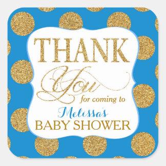 Gold Glitter Dots Royal Blue Thank You Label