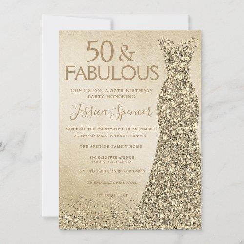 Gold Glitter Dress Womans 50th Birthday Party Invitation