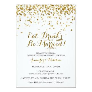 Gold Glitter Eat Drink Be Married Rehearsal Dinner Card