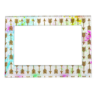 Gold glitter effect arrows watercolors splatters magnetic picture frame