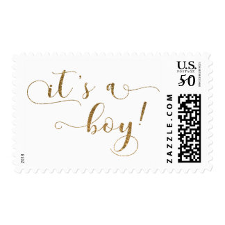 """Gold Glitter Effect Baby Announcement """"It's a Boy"""" Postage"""