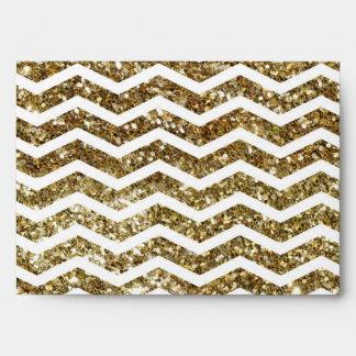 Gold Glitter Effect Elegant Chevron Zig-Zag Envelope