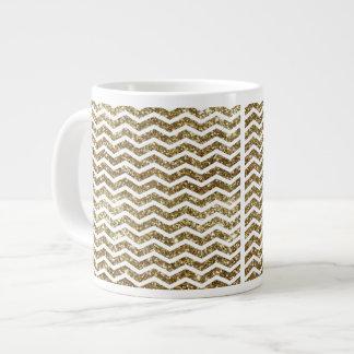 Gold Glitter Effect Elegant Chevron Zig-Zag Giant Coffee Mug