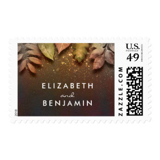 Gold Glitter Effect Fall Leaves Rustic Wedding Postage