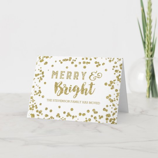 Gold Glitter Effect Merry Christmas New Address Holiday Card