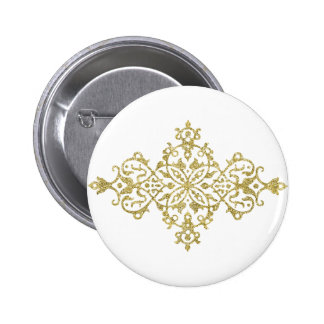 Gold Glitter Effect Simple Tribal Design Button